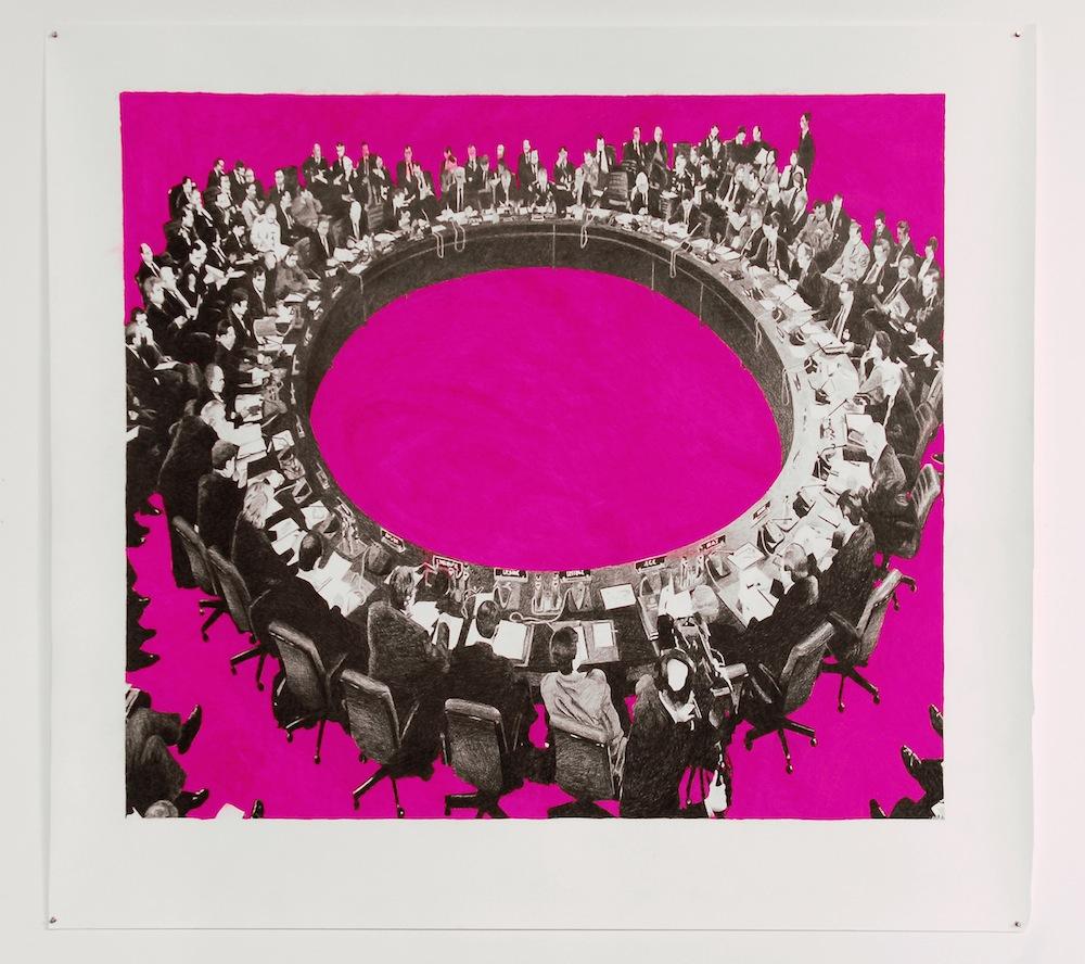 'Brussel 2005' , 150 x 175 cm; kleurpotlood en pastelkrijt op papier; 2007