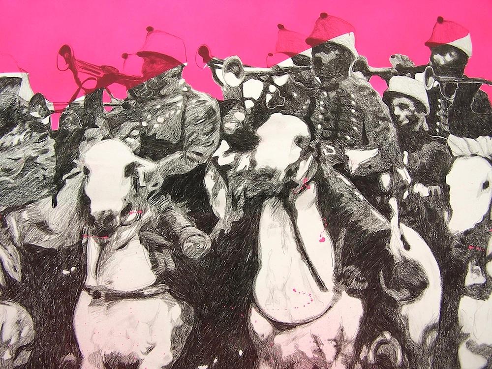 'Cavalerie' (detail), 150 x 300 cm; kleurpotlood en spuitbus op papier; 2008