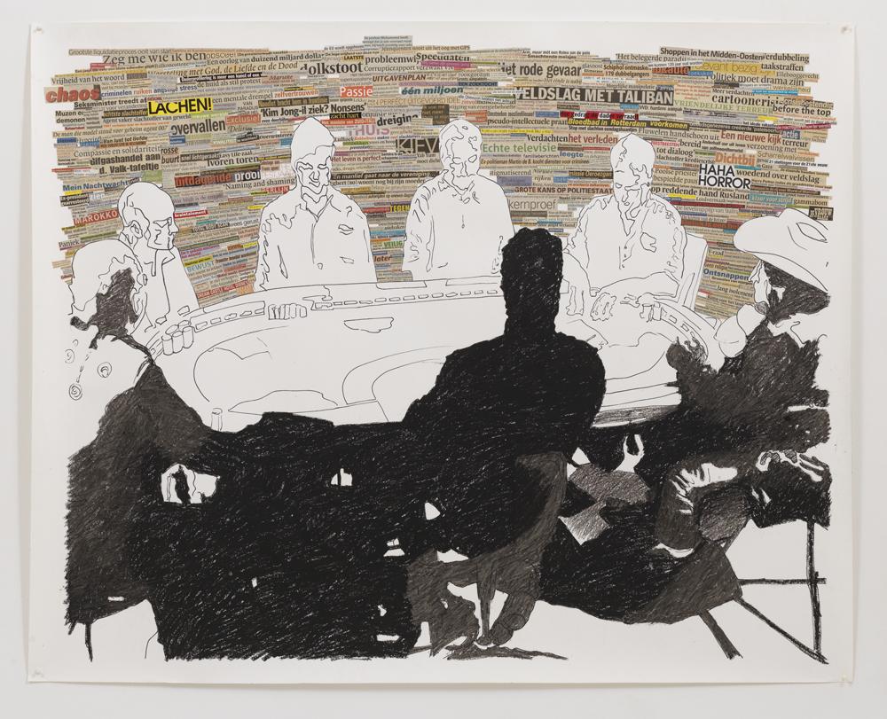 'Poker' , 150 x 175 cm; krantenknipsels, watervaste marker en oliepastel op papier; 2008