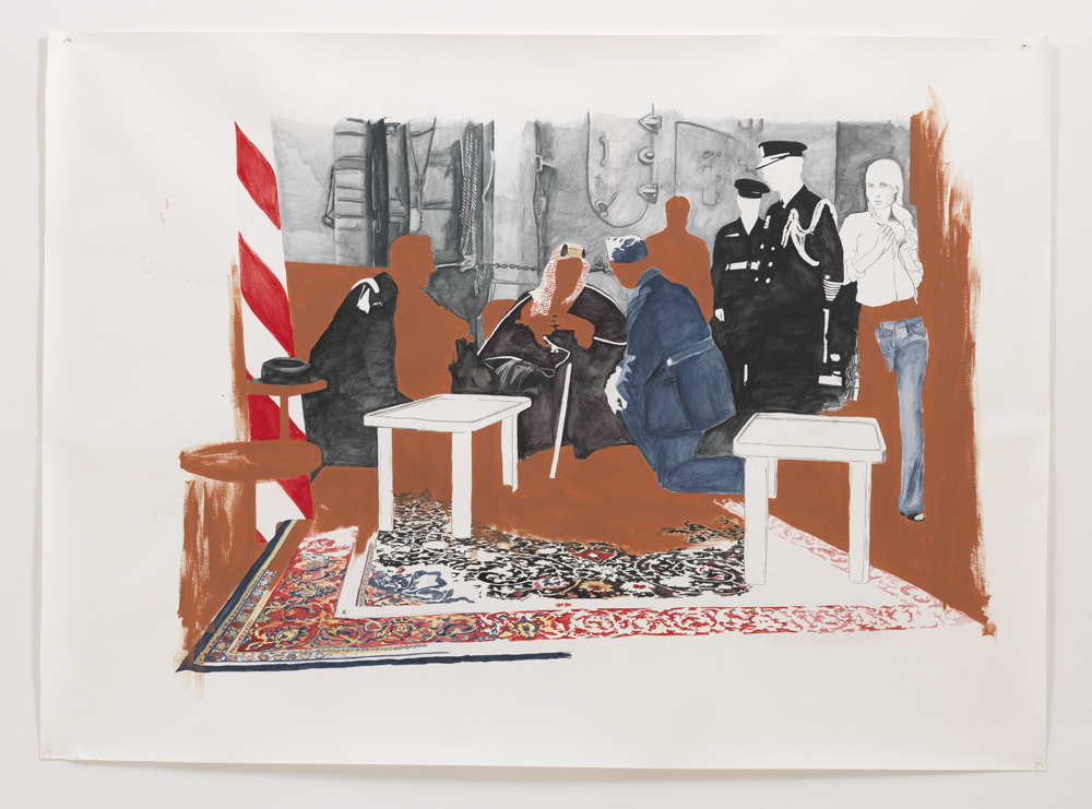 'Sjeik & Rooseveld' , 150 x 175 cm; Aquarelpotlood en plakaatverf op papier; 2008