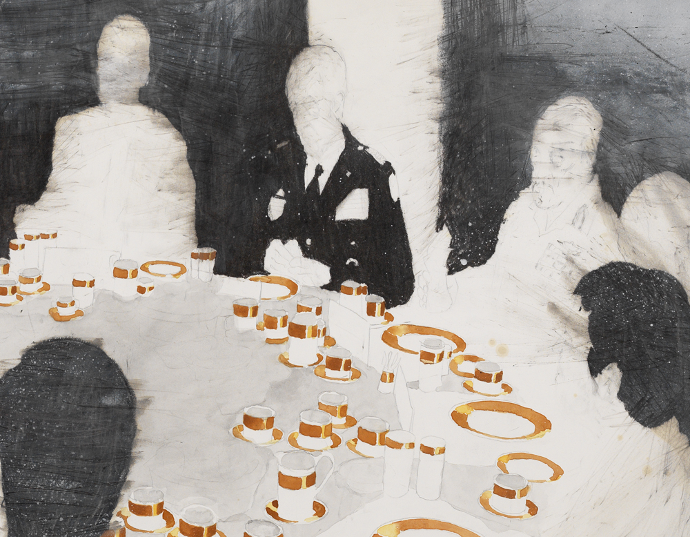 'Amman' (detail), 120 x 150 cm; potlood, oliepastel, aquarelverf en spuitbus op papier; 2009