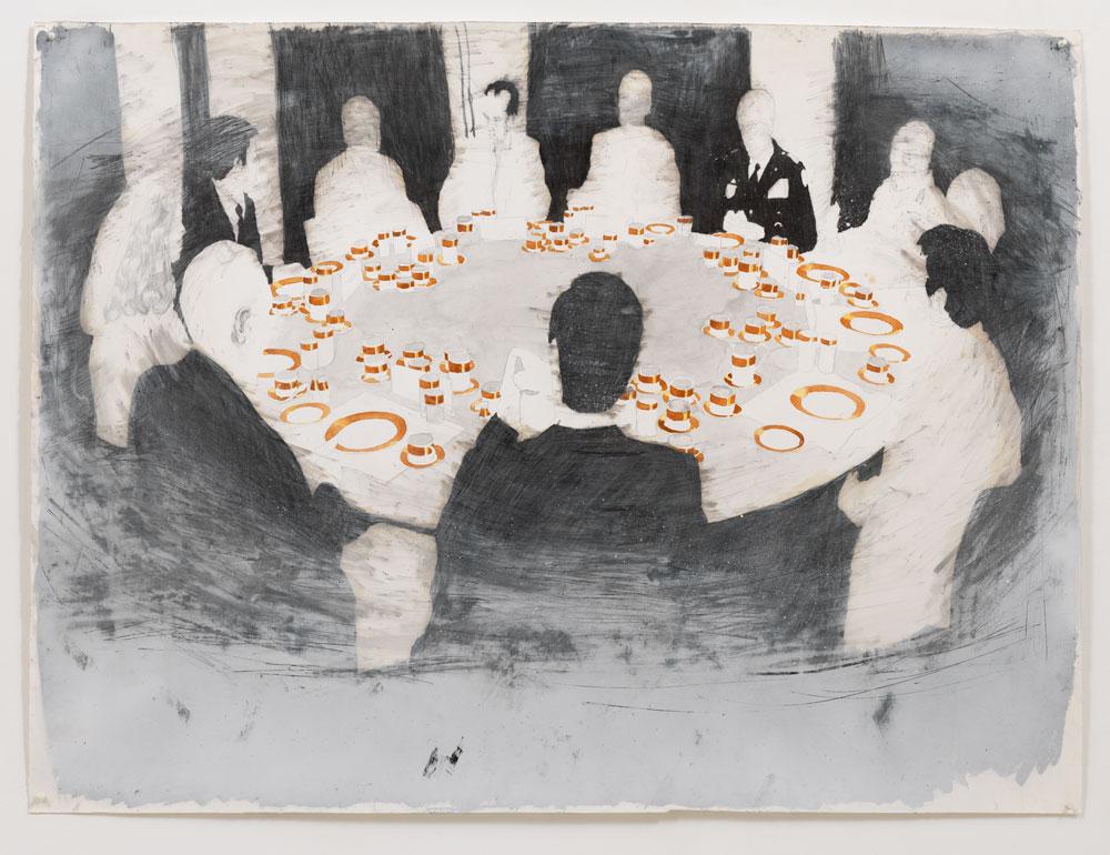 'Amman' , 120 x 150 cm; potlood, oliepastel, aquarelverf en spuitbus op papier; 2009