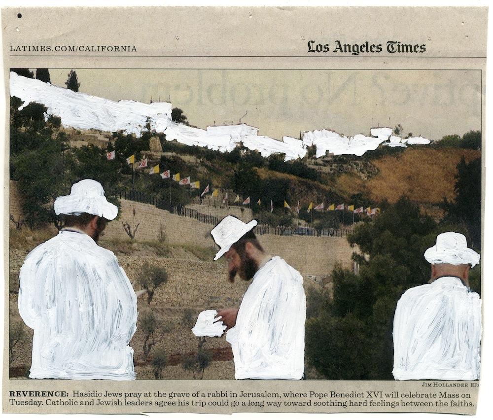 Pray; 20 x 26 cm; tip-ex op krantenknipsel; 2009