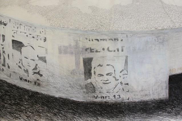 Stadion (detail); 265 x 390 cm; waxaquarel, grafiet en softpastel op zelfgemaakt papier uit katoenen lompen; 2011