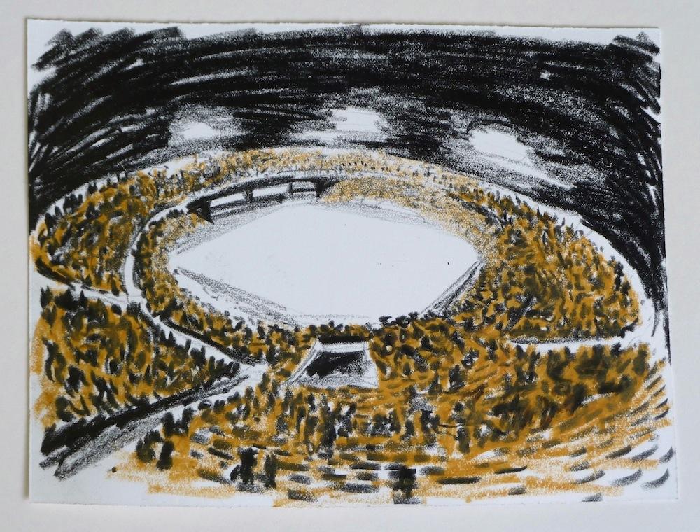 Stadion (studie); 15 x 20 cm; oliepastel op papier; 2011