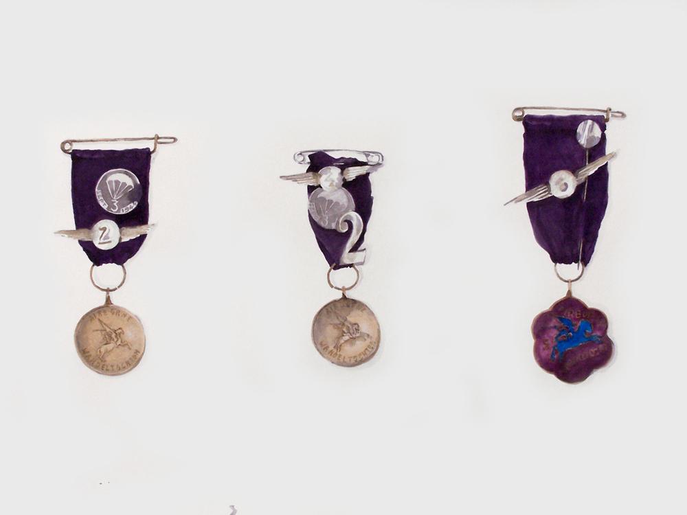 Medailles (familiearchief); 45 x 60; aquarel; 2012