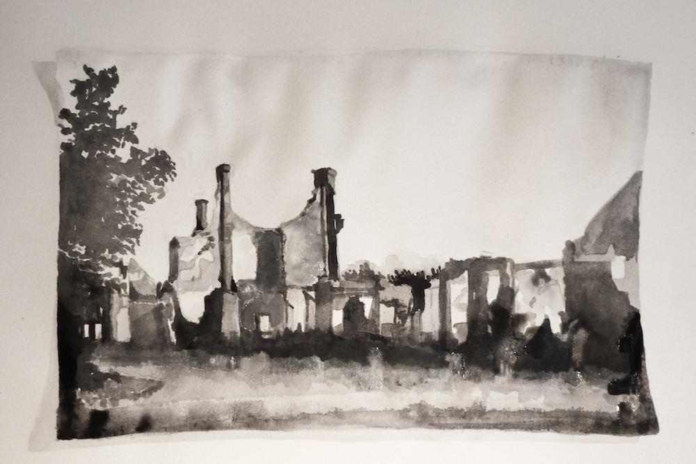 Ruine (familiearchief); 40 x 60 cm; aquarel op papier; 2012