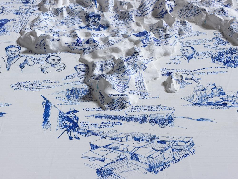 Het Paradijs als Restruimte (detail) 80 x 120 x 75 cm; Ikea tafel, latex, klei, gesso, fine liner; 2013