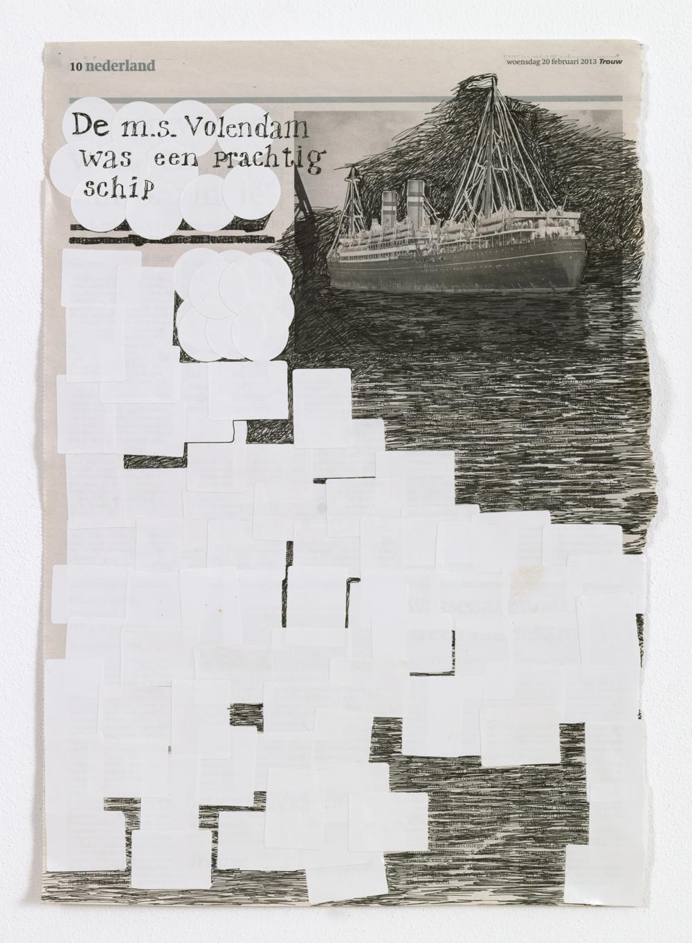 MS-Volendam; 42 x 29 cm; pen en stickers op krantenpagina; 2014