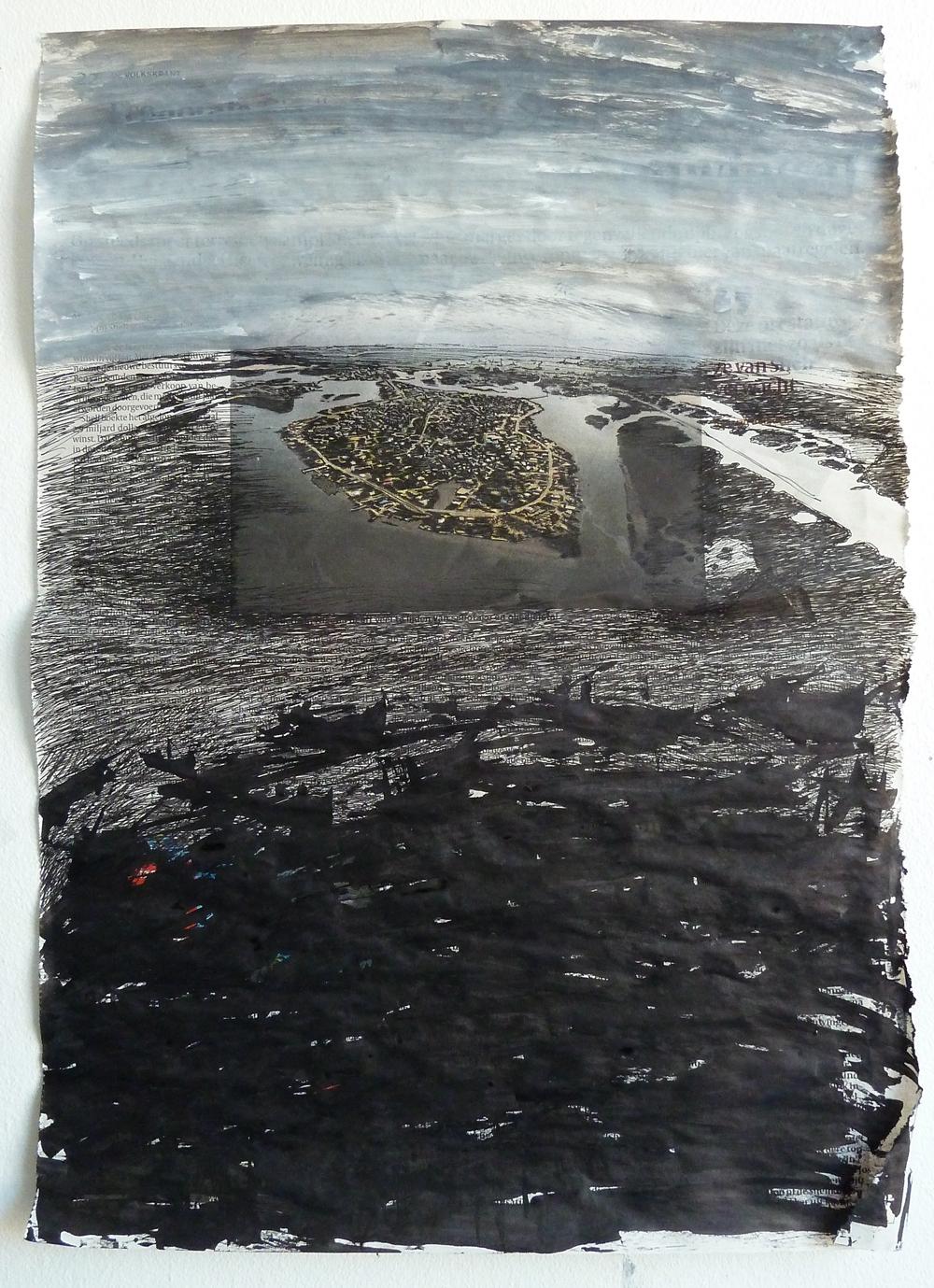 Nigerdelta; 42 x 29 cm; gesso, pen, inkt op krantenpagina; 2014